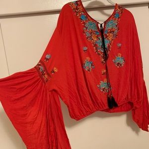 Free people embroidered bell sleeve blouse